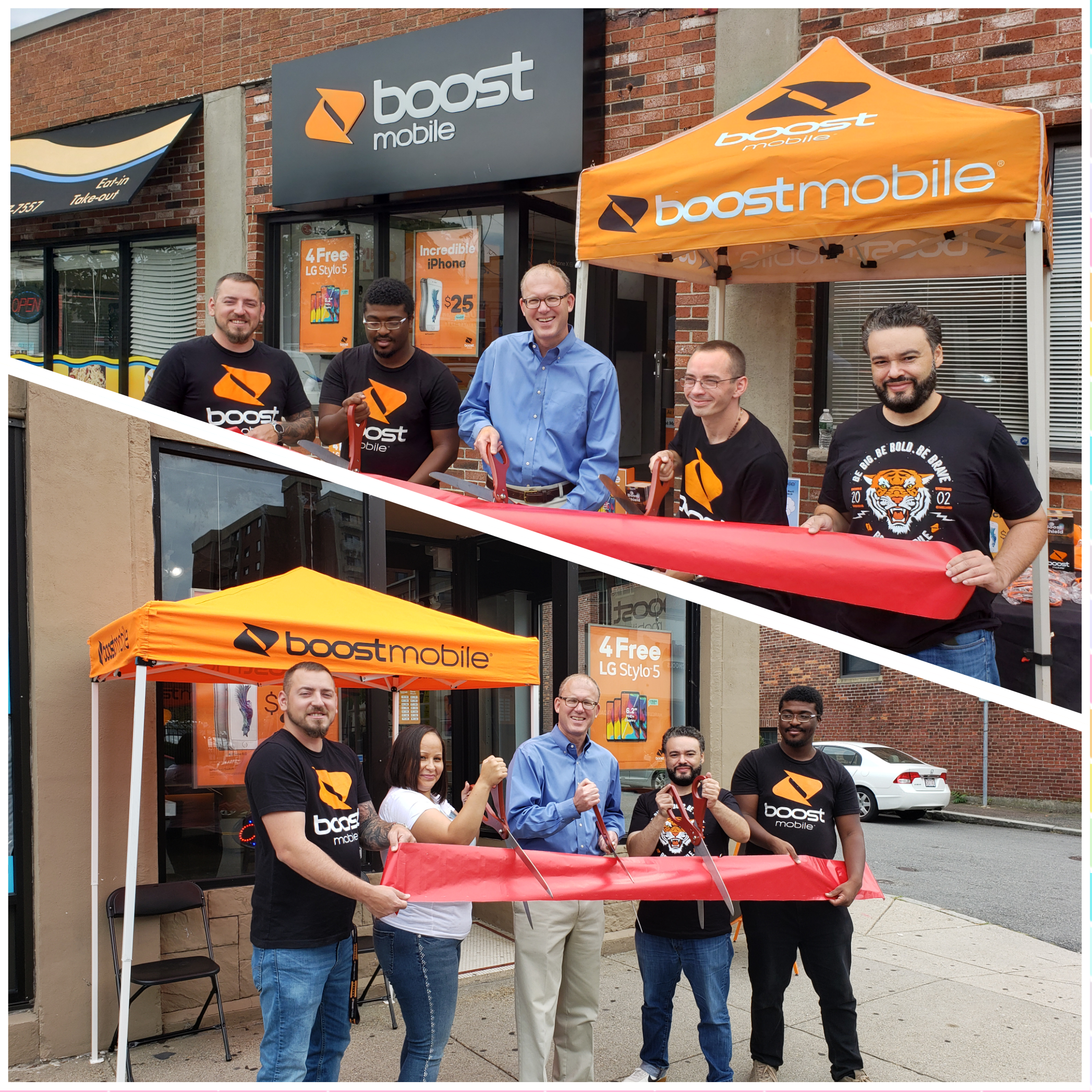 Mayor Christenson with Boost Mobile Employees