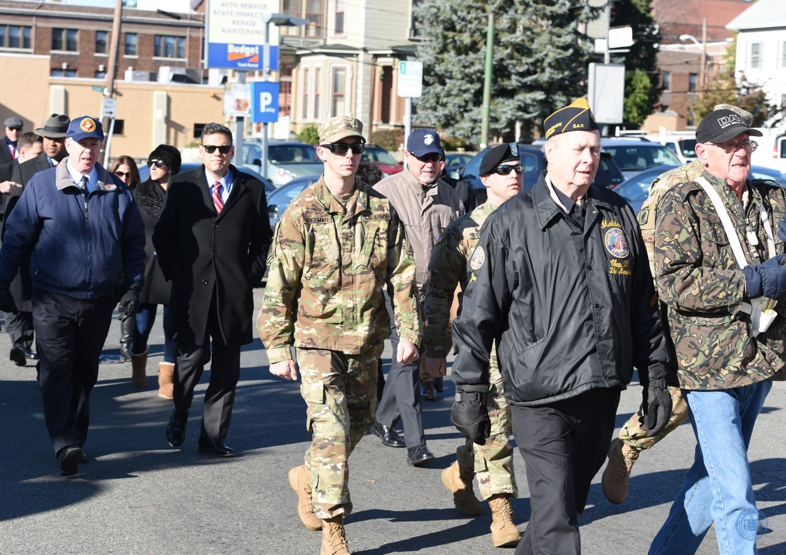 Veterans Marching in Veterans Day Parade
