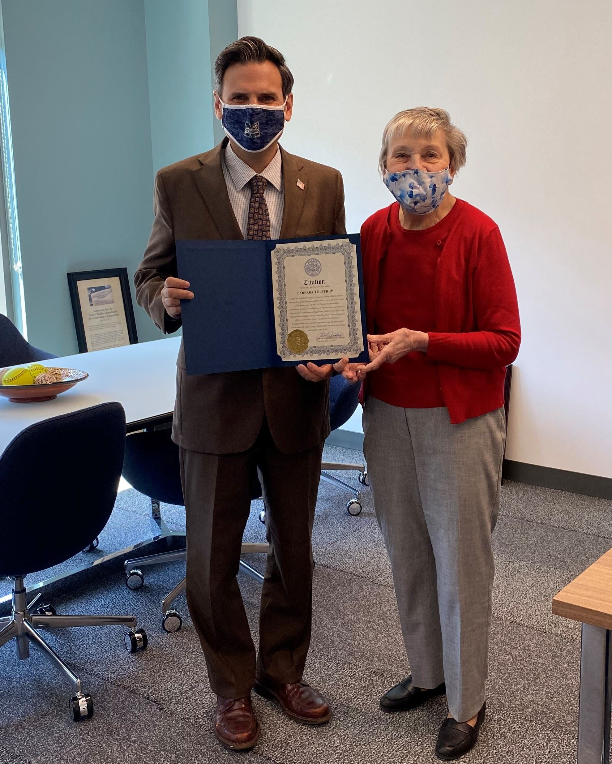 Mayor Christenson presents Barbara Tolstrup with a Citation
