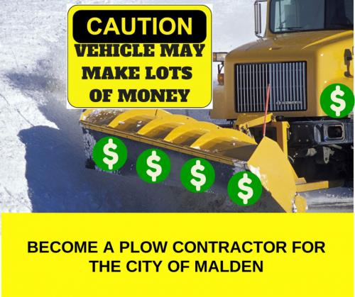 Become a plow contractor for the City of Malden.